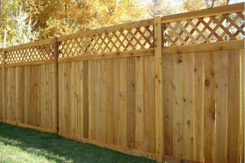 Use wooden fence in the yard and green space